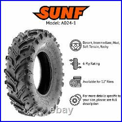 Set of 4, 25x8-12 & 25x10-12 Replacement ATV UTV 6 Ply Tires A024-1 by SunF